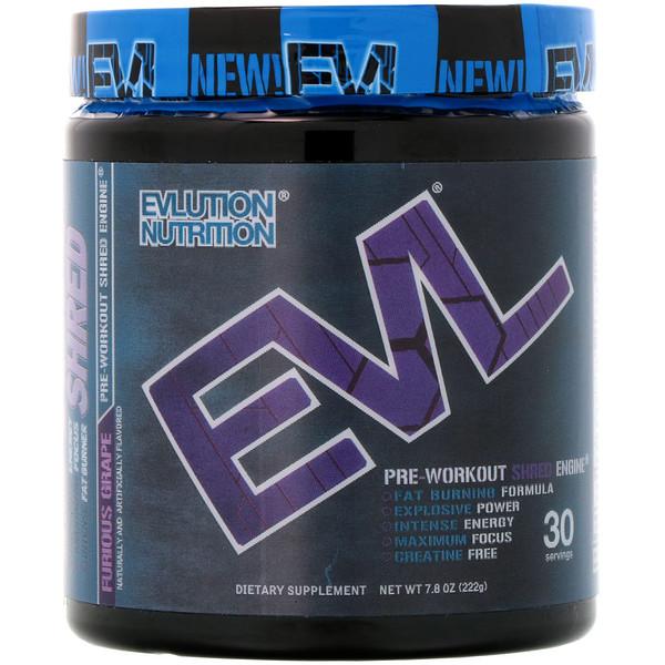 EVLution Nutrition, ENGN Shred, средство активизации перед тренировкой, яростный виноград, 7,8 унц. (222 г) (Discontinued Item)