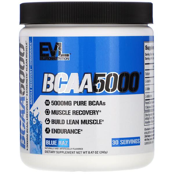 BCAA 5000, Blue Raz, 8.47 oz (240 g)