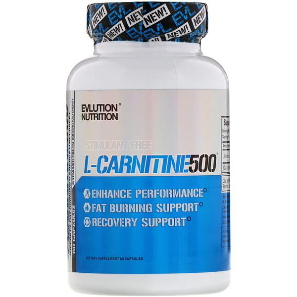 EVLution Nutrition, L-Carnitine500, 60 Capsules (Discontinued Item)