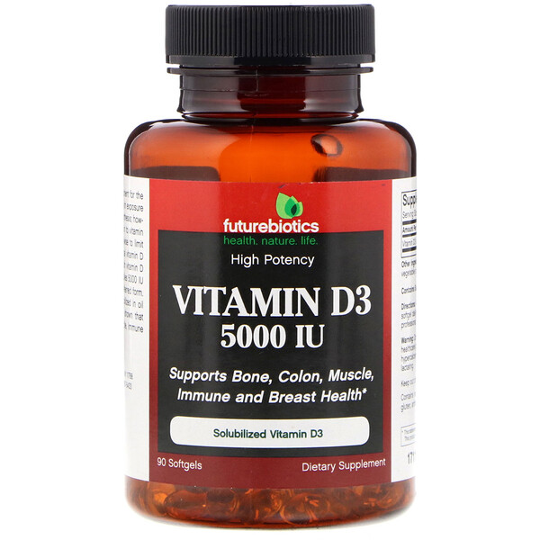 Vitamin D3, 5,000 IU, 90 Softgels