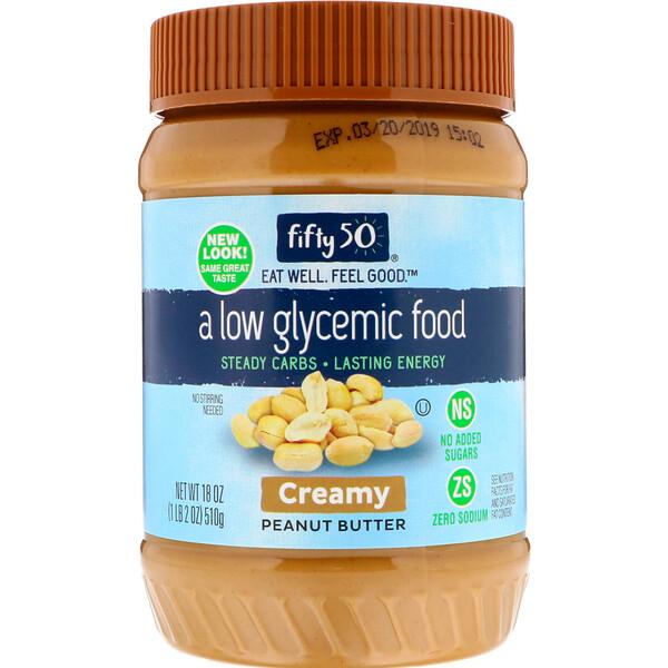 Fifty 50, Арахисовое масло с низким гликемическим индексом, кремообразное, 510 г (18 унций)
