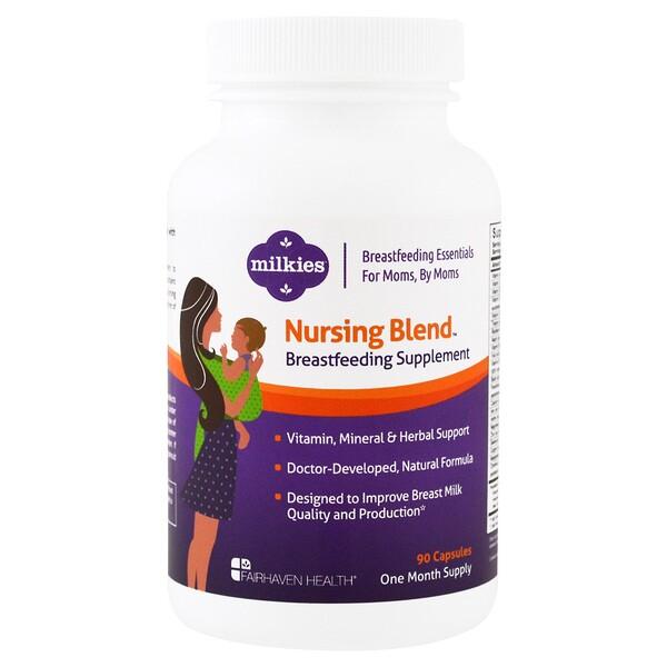 Milkies, Nursing Blend Breastfeeding Supplement, 90 Veggie Caps Milkies, добавка для кормящих мам, 90 растительных капсул