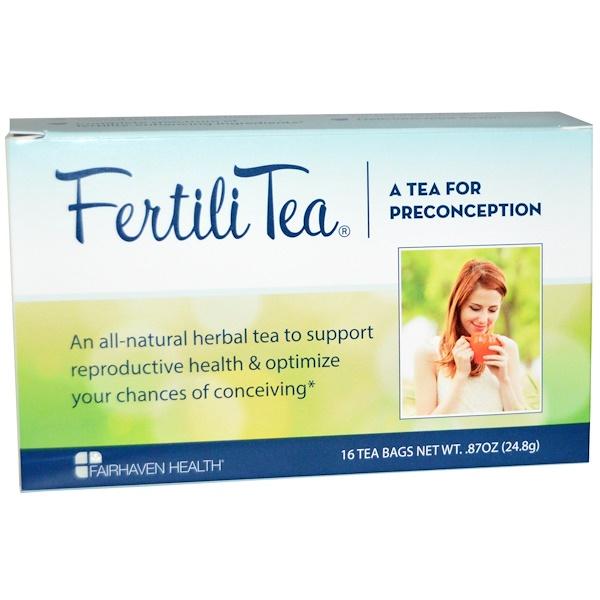 Fairhaven Health, Чай для зачатия FertiliTea для женщин, 16 чайных пакетиков, 24,8 г (Discontinued Item)
