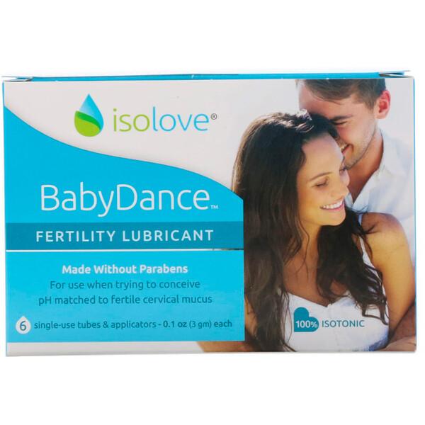 Fairhaven Health, Isolove, BabyDance, интимная смазка для повышения фертильности, 6 одноразовых тюбиков и аппликаторов по 3 г (0,1 унции) каждый