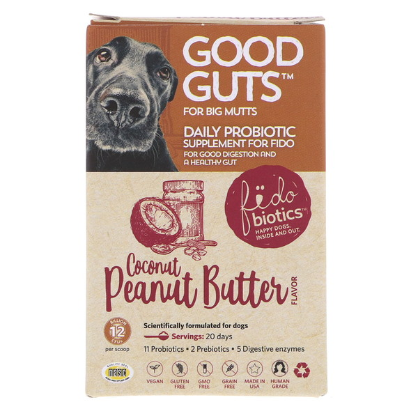 Fidobiotics, Good Guts, Coconut Peanut Butter, Daily Probiotic, 12 Billion CFUS, For Big Mutts, 1.4 oz (40 g) (Discontinued Item)