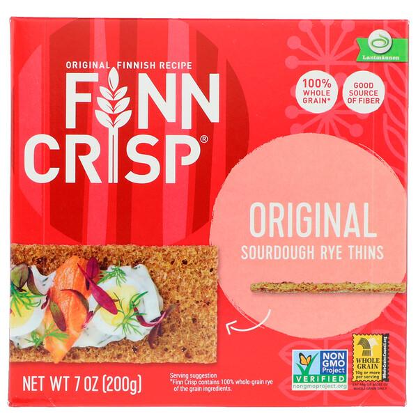 Finn Crisp, Хлебцы из дрожжевого ржаного теста, оригинальный вкус, 200 г (7 унций)