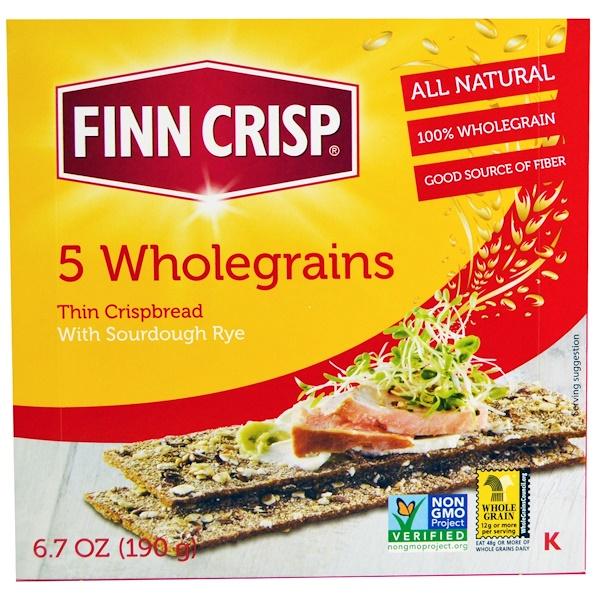 Finn Crisp, Тонкие хрустящие хлебцы из 5 видов цельных злаков, 6,7 унции (190 г) (Discontinued Item)