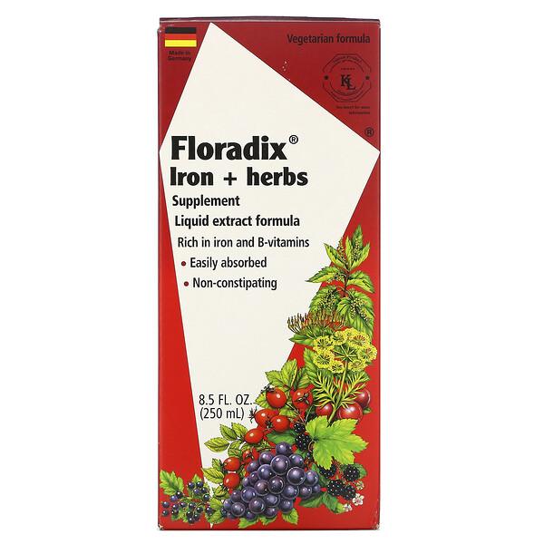 Floradix, добавка с железом и травами, формула с жидким экстрактом, 250 мл (8,5 жидкой унции)