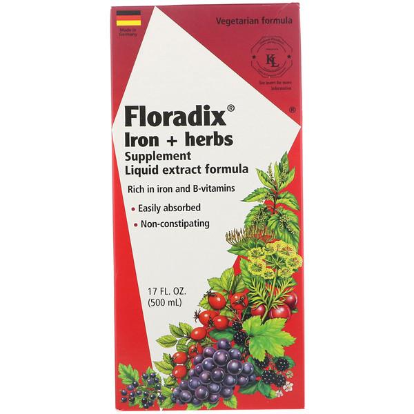 Floradix, добавка с железом и травами, формула с жидким экстрактом, 500 мл (17 жидк. унций)