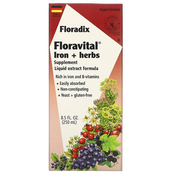 Salus, Floradix, Floravital, добавка с железом и травами, формула с жидким экстрактом, 250 мл (8,5 жидкой унции)