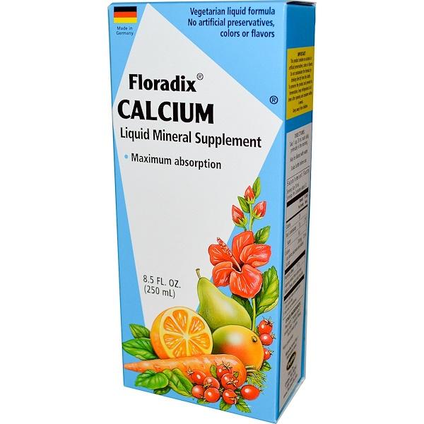 Floradix, кальций, жидкая минеральная добавка, 8,5 жидких унций (250 мл)
