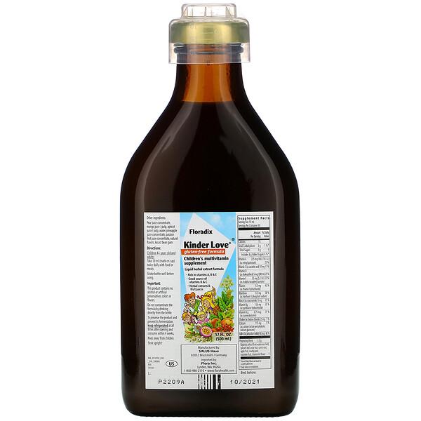 Floradix, Kinder Love, мультивитаминная добавка для детей, без глютена, 500 мл (17 жидк. унций)
