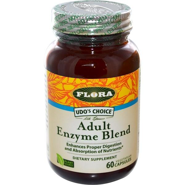 Flora, Udo's Choice, Смесь ферментов для взрослых 60 овощных капсул (Discontinued Item)