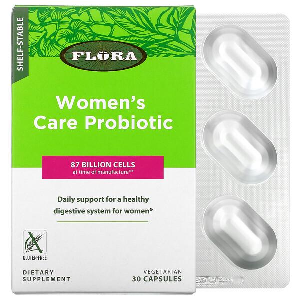Flora, пробиотик для женщин, длительного хранения, 87миллиардов клеток, 30вегетарианских капсул