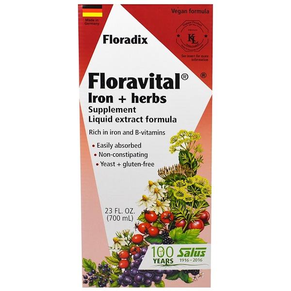 Floradix, Floravital, добавка с железом и травами, формула с жидким экстрактом, 700 мл (23 жидких унции)