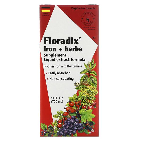 Floradix, добавка с железом и травами, формула с жидким экстрактом, 700 мл (23 жидких унции)
