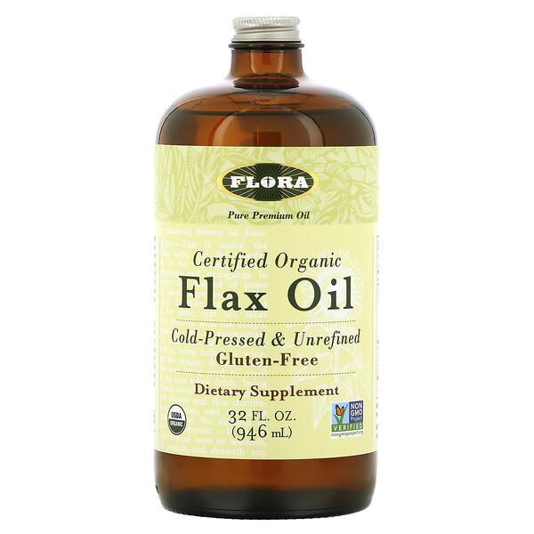 Flora, Сертифицированное органическое льняное масло, 946 мл (32 жидких унции)