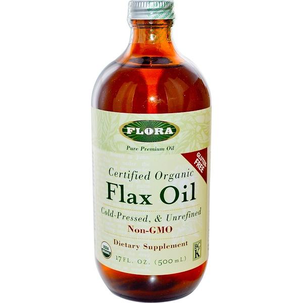 Сертифицированное органическое льняное масло ,17 жидких унций (500 мл)