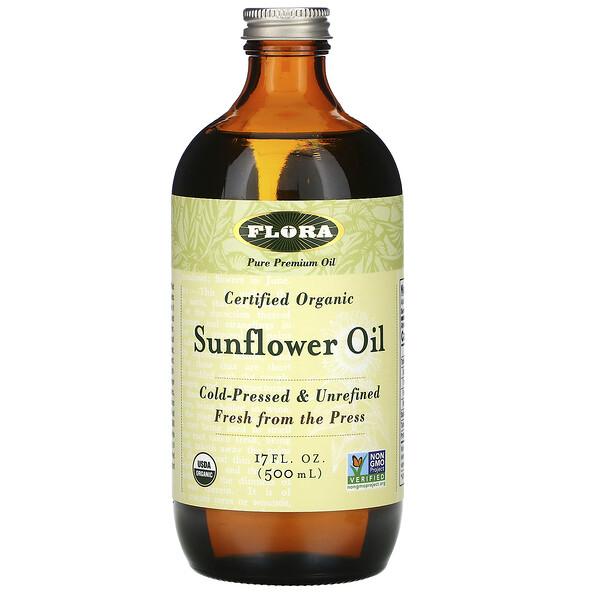 Flora, Сертифицированное органическое подсолнечное масло, 500 мл (17 жидких унций)