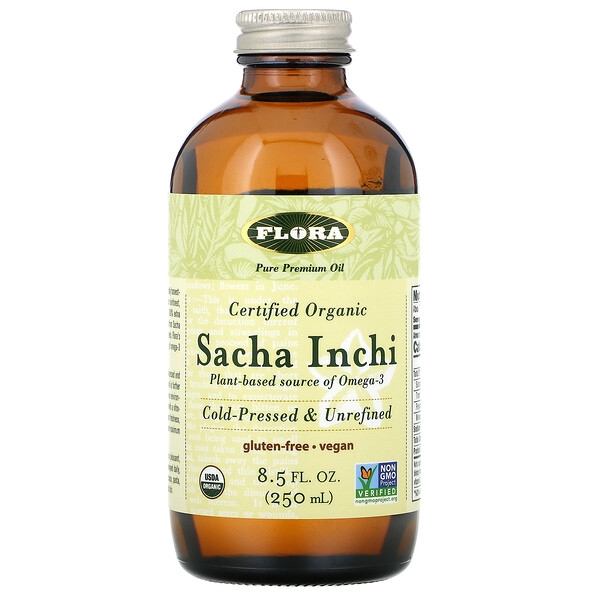Flora, сертифицированное органическое масло сача инчи, 250мл (8,5жидк.унции)