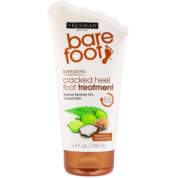 Freeman Beauty, Bare Foot, восстановление, заживляющий крем для потрескавшейся кожи пяток, масло семян маргозы и масло ши, 100мл