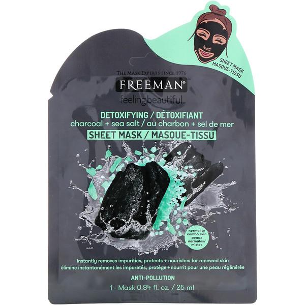 Feeling Beautiful, детоксифицирующая тканевая маска, уголь + морская соль, 1 шт.