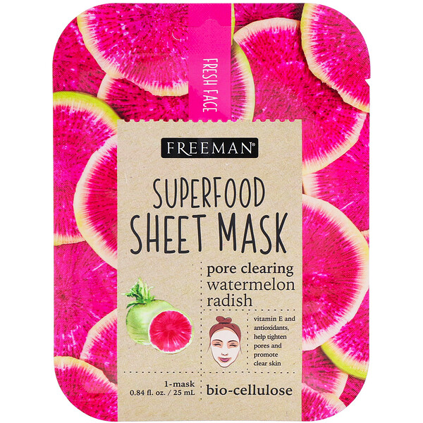 Freeman Beauty, Тканевая маска с суперфудами, арбуз и редька для очищения пор, 1 маска