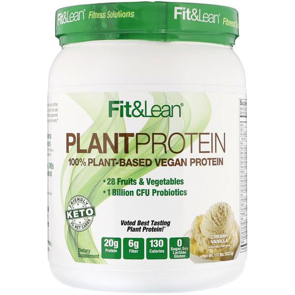 Fit & Lean, Растительный протеин, кремовая ваниль, 532,5г (Discontinued Item)