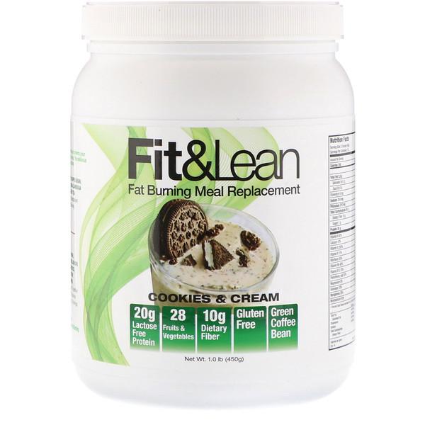 Fit & Lean, Заменитель еды с функцией сжигания жира, Печенье и сливки, 1,0 фунт (450 г) (Discontinued Item)