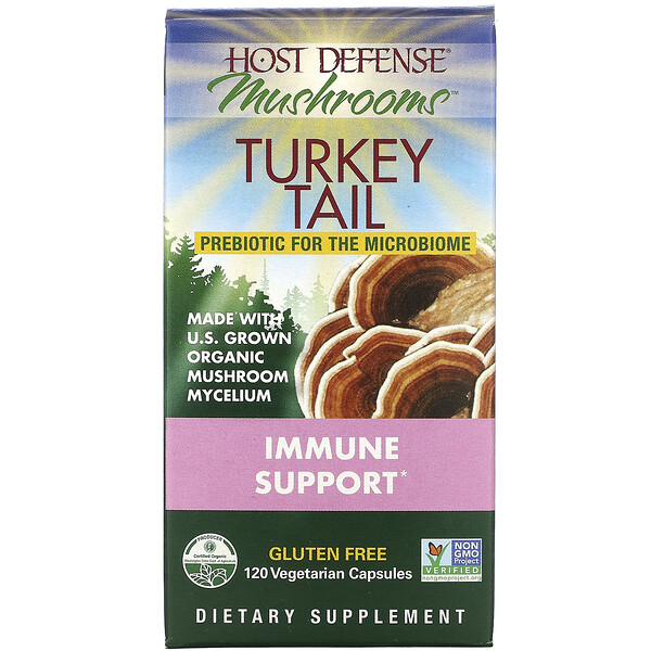 Host Defense, Mushrooms, Turkey Tail, Immune Support, 120 Vegetarian Capsules