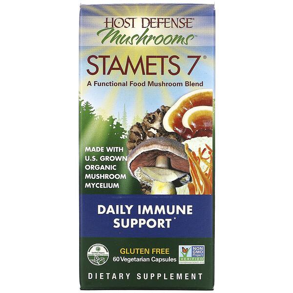 Fungi Perfecti, Stamets 7, ежедневная иммунная поддержка, 60 растительных капсул