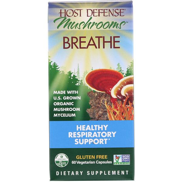 Mushrooms, Breathe, Поддержка здоровья дыхательной системы, 60растительных капсул