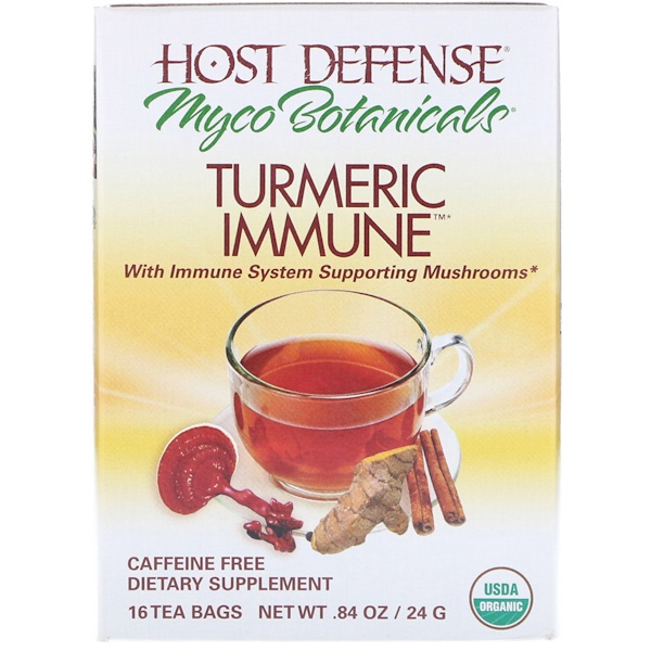 Fungi Perfecti, MycoBotanicals, Turmeric Immune, Caffeine Free, 16 Tea Bags, 0.84 oz (24 g) Each (Discontinued Item)