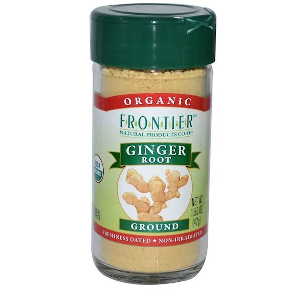 Frontier Natural Products, Органический корень имбиря, молотый, 1,50 унции (42 г) (Discontinued Item)