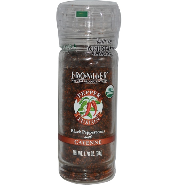 Frontier Natural Products, Pepper Fusion, Black Peppercorns with Cayenne, 1.76 oz (50 g) (Discontinued Item)