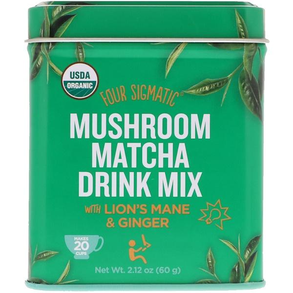Four Sigmatic, Органический грибной напиток матча, содержит ежовик гребенчатый и имбирь, 2,12 унц. (60 г) (Discontinued Item)