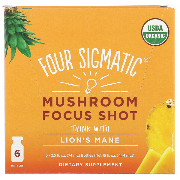 Mushroom Focus Shot, Pineapple, 6 Bottles, 2.5 fl oz (74 ml) Each