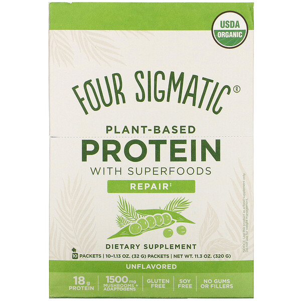 Plant-Based Protein with Superfoods, Unflavored, 10 Packets, 1.13 oz (32 g) Each