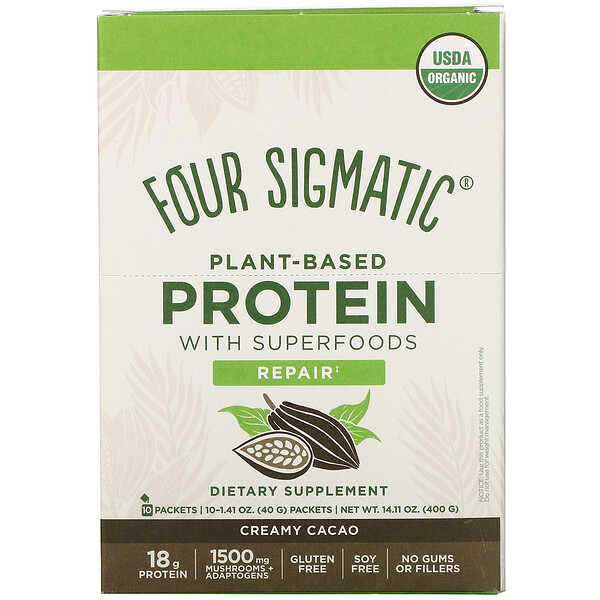 Plant-Based Protein with Superfoods, Creamy Cacao, 10 Packets, 1.41 oz (40 g)