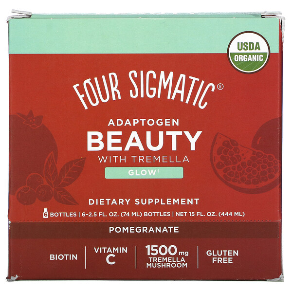 Four Sigmatic, Adaptogen Beauty with Tremella, Pomegranate, 6 Bottles, 2.5 fl oz (74 ml) Each