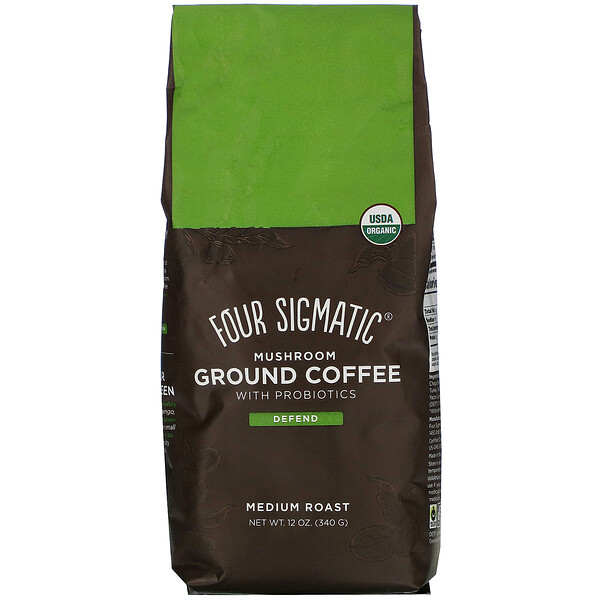 Four Sigmatic, Mushroom Ground Coffee with Probiotics, Medium Roast, 12 oz (340 g)