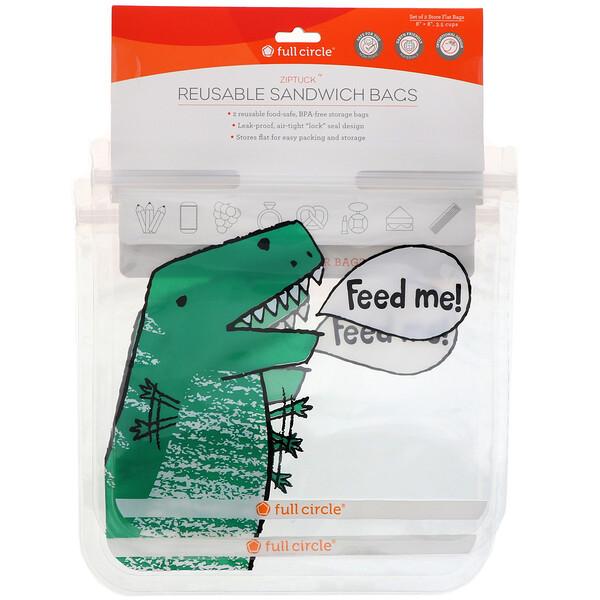 ZipTuck, многоразовые пакеты для бутербродов, «Динозавр», 2 шт.