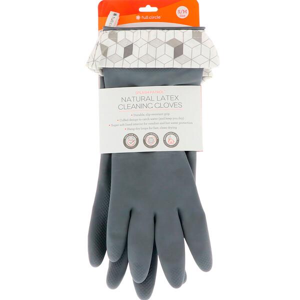 Full Circle, Splash Patrol, Natural Latex Cleaning Gloves, Grey, Size S/M