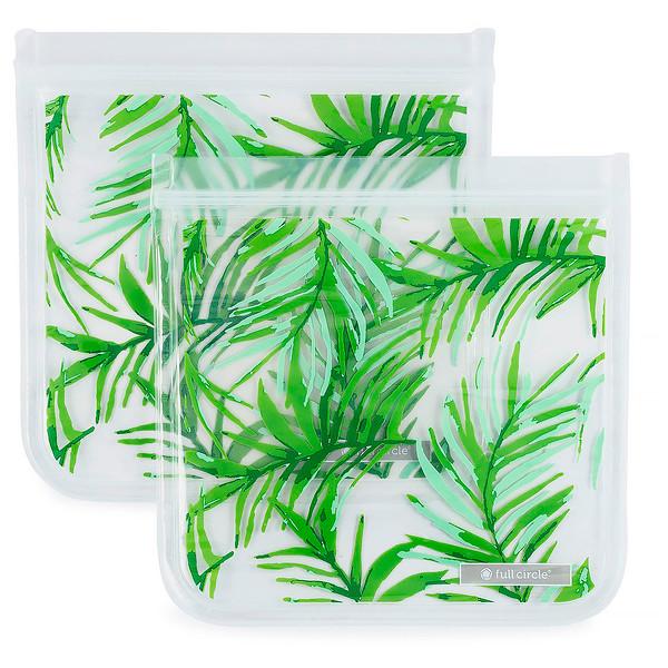 ZipTuck, многоразовые пакеты для бутербродов, пальмовые листья, 2 пакета