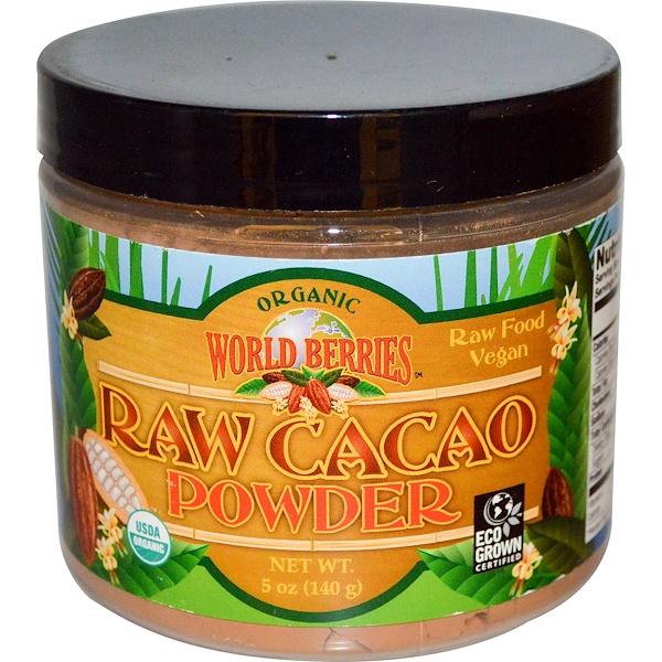 Органический, сырой какао-порошок, 5 унций (140 г)