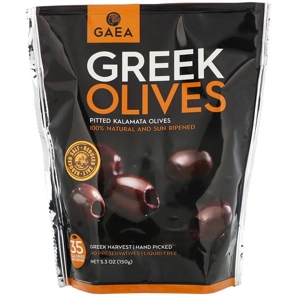Gaea, Греческие оливки, оливки каламата без косточек, 5,3 унции (150 г)