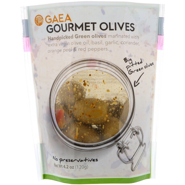 Оливки для гурманов, маринованные зеленые оливки без косточек, 4,2 унции (120 г)