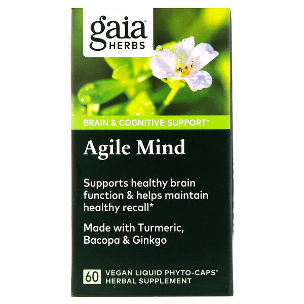 Gaia Herbs, Добавка для улучшения работы мозга, 60веганских капсул Phyto-Cap