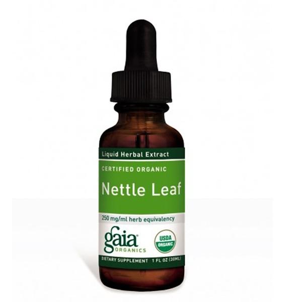 Gaia Herbs, Сертифицированные органические листьа крапивы 1 жидких унции (30 мл)