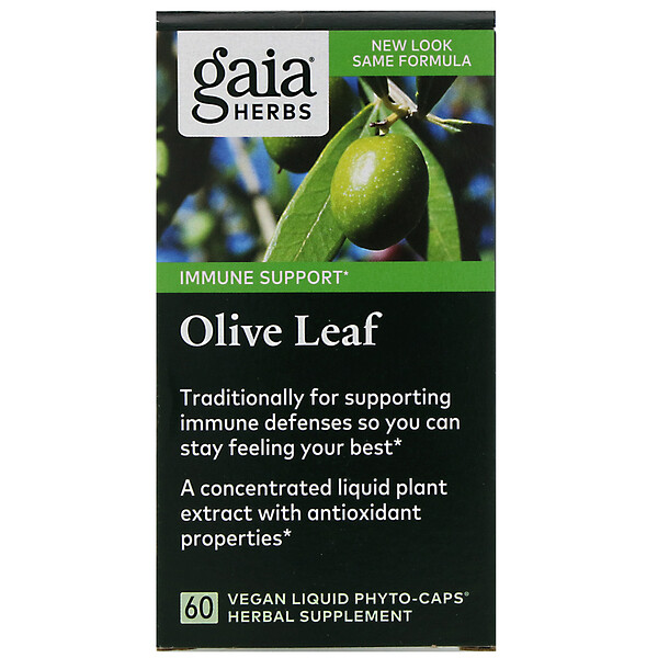 Gaia Herbs, Листья оливы, 60веганских капсул Liquid Phyto-Caps